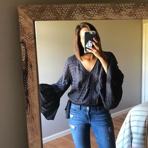 American Eagle Peasant Embroidered Bell Sleeve Top